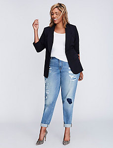 Tailored Stretch Pinstripe Blazer