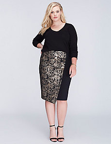 Metallic Jacquard Pencil Skirt