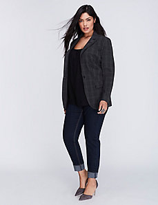 Tailored Stretch Plaid Boyfriend Jacket