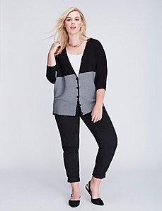 Ottoman-Stitch Colorblock Sweater