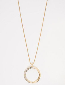 Twisted Circle Pave Pendant Necklace