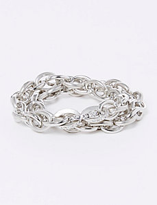 2-Row Matte Link Stretch Bracelets with Pave