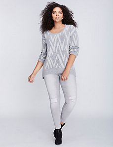 Irregular Chevron Print Sweater