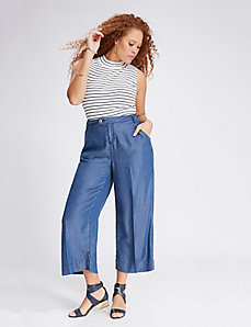Chambray Culotte with Pleats