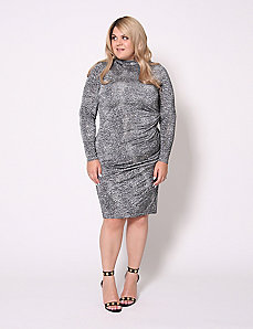Animal Print Mock-Neck Midi Dress by Christian Siriano