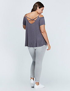 Cold-Shoulder Strappy-Back Tee by C&C California
