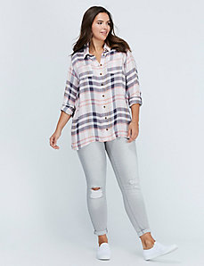 Plaid Button-Front Shirt by C&C California