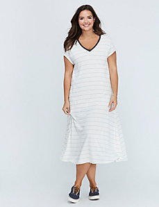 Striped Deep V Maxi Dress by C&C California