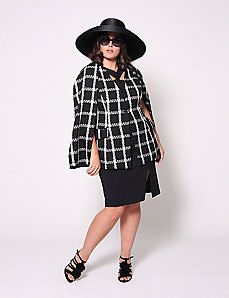 Boucle Plaid Cape by Christian Siriano