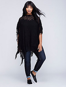 Open-Weave Poncho with Fringe