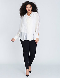 Tie-Neck Blouse with Lace Insets