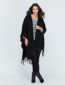 Black Wrap with Faux Leather Stitch Detail