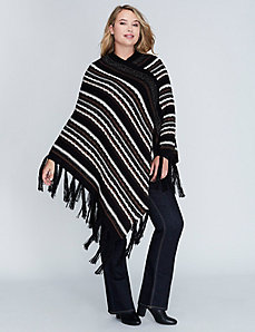 Striped Poncho with Fringe