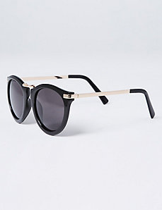 Black Sunglasses with Goldtone Detail