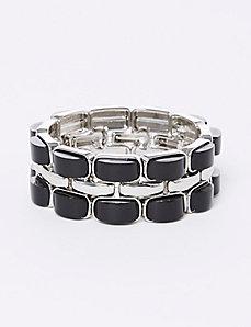 Black & Silvertone Stretch Bracelet