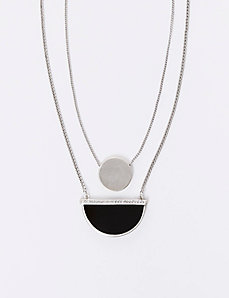 2-Layer Necklace with CZ Half Circle Pendant