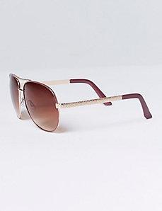 Burgundy Aviator Sunglasses