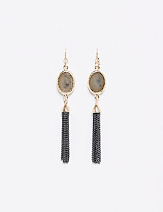 Fringe Drop Earrings with Olive Stone