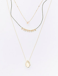 3-Tiered Chain & Cord Necklace