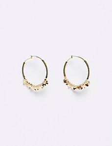 Threaded Hoop Earrings with Discs & Beads