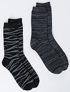 Zebra Crew Socks 2-Pack