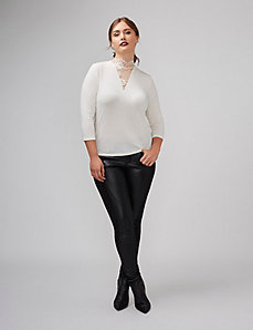 Mock-Neck Top with Lace