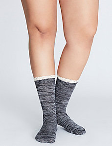 Crochet-Trim Crew Sock