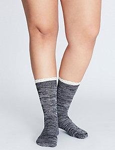 Crochet-Trim Crew Sock