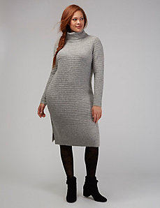 Drape-Neck Midi Sweater Dress