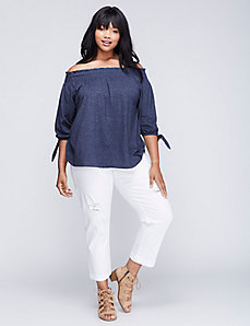 Off-the-Shoulder Slub Top