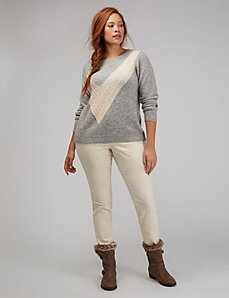 Cable-Knit Check Sweater