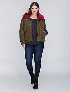 Faux Fur-Trimmed Puffer Jacket
