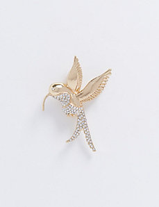 Hummingbird Pin with Faceted Stones