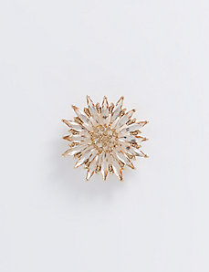 Flower Pin with Faceted Stones