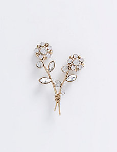 Flower Bouquet Pin with Faceted Stones
