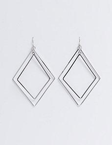 Double Diamond Wire Earrings