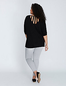 3/4-Sleeve Swing Top with Lace Strappy Back