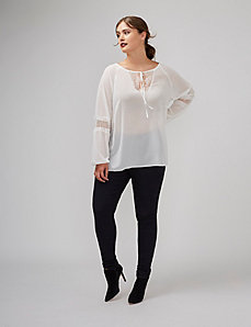 Peasant Top with Lace Insets