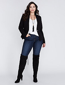 Tailored Stretch Jacket with Lace Lapel