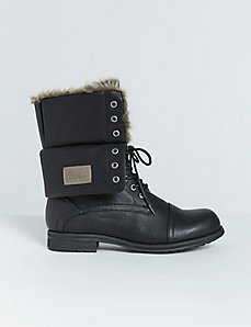 Faux Fur-Lined Moto Boot