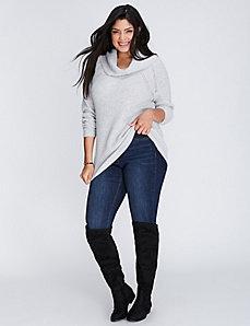 Textured Pointelle Cowl-Neck Sweater
