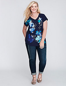 Graphic Floral Dolman Tee