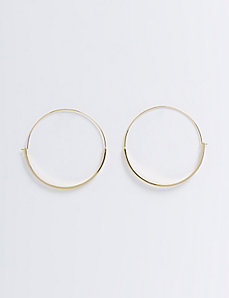 Wire Hoop Earrings with Flattened Half