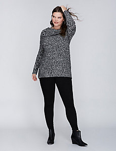 Marled Button Cowl-Neck Sweater