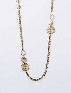 Long 2-Layer Necklace with Discs & Stones