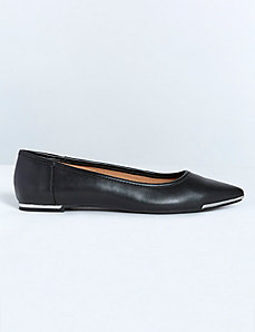 Pointed Toe Flat with Metal Trim