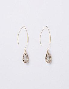 Faceted Teardrop Wire Drop Earrings