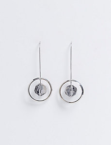 Circle & Faceted Stone Wire Drop Earrings