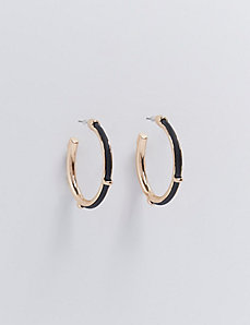 Medium Hoop Earrings with Black Accent