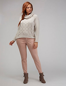 Drape-Neck Cable-Knit Sweater